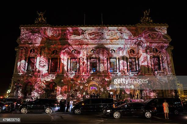 A view of the front of the Opera Garnier during the MAC Cosmetics Giambattista Valli Floral Obsession Ball at Opera Garnier on July 6 2015 in Paris...