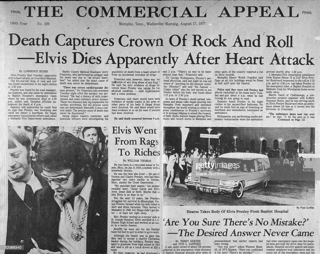 View of the front page of the Commercial Appeal newspaper the day after the death of American rock and roll singer Elvis Presley, Memphis, Tennessee, August 17, 1977. The main headline reads 'Death Captures Crown of Rock and Roll--Elvis Dies Apparently After Heart Attack.'