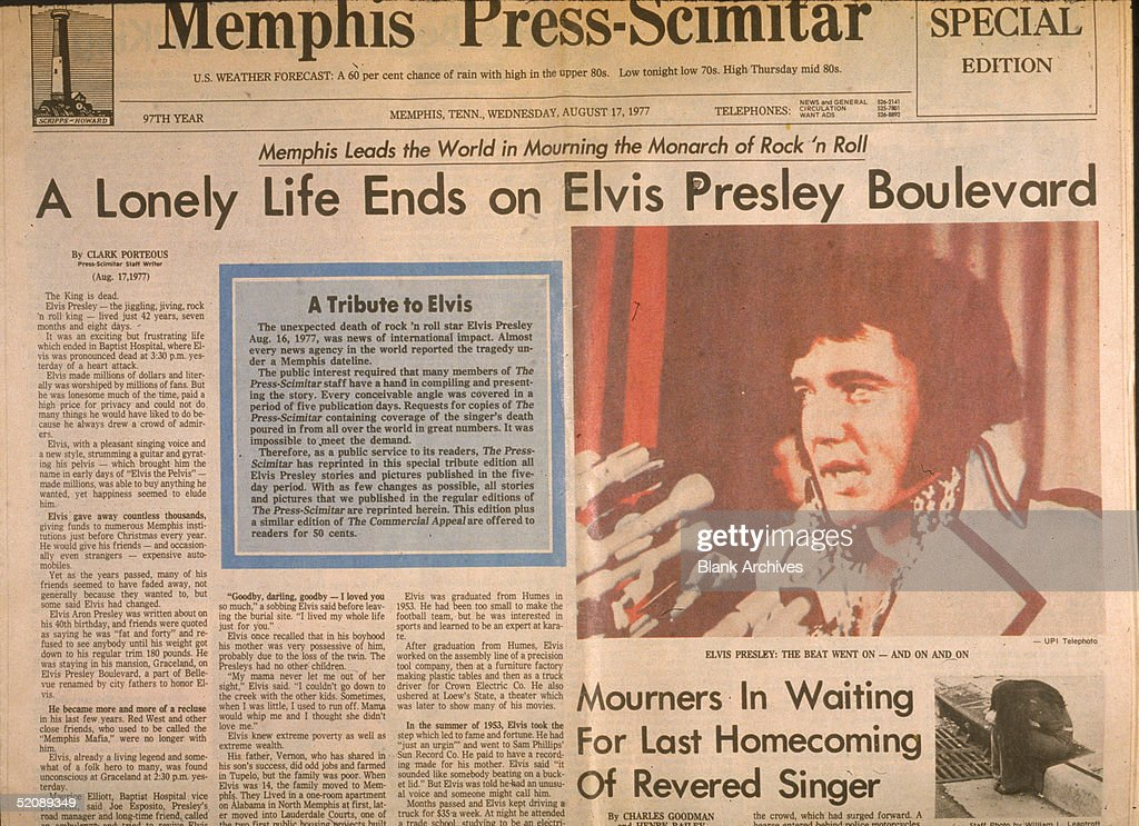 View of the front page of the Memphis Press-Scimitar newspaper the day after the death of American rock and roll singer Elvis Presley, Memphis, Tennessee, August 17, 1977. The main headline reads 'A Lonely Life Ends on Elvis Presley Boulevard.'