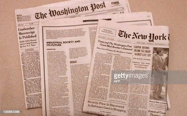 This 19 September photo shows the front pages of the New York Times and the Washington Post both who published the entire 35000 word manifesto of a...