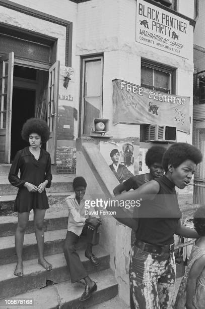 View of the front stoop occupied by several women of the Black Panther Party's Washington Chapter community information center Washington DC early...