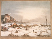 View of the frozen River Thames off Three Cranes Wharf London 1814 The Thames froze from January 31st until the February 5th and a fair was held on...