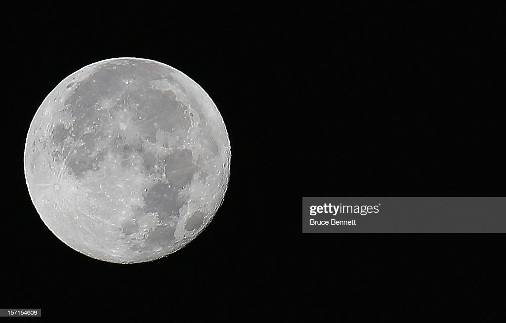 A view of the full moon as photographed on November 29, 2012 in Old Bethpage, New York.