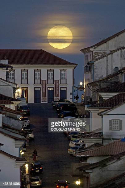 View of the full moon nicknamed 'the supermoon' in Ouro Preto Brazil on August 10 2014 A supermoon is the coincidence of a full moon or a new moon...