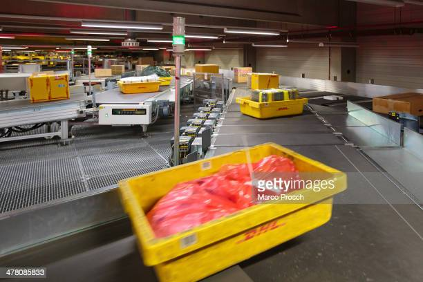 A view of the fully automated section of the main building of the DHL hub on February 27 2014 in Leipzig Germany The soon to be expanded hub handles...