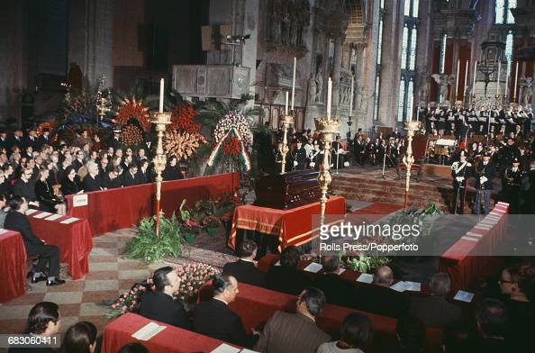 View of the funeral service for Russian composer Igor Stravinsky with the casket placed in front of the altar of the church of Santi Giovanni e Paolo...