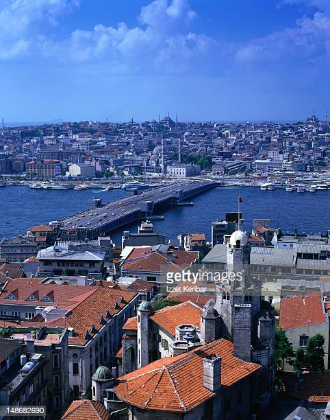 View of the Galata bridge and the Golden Horn from the top of Galata Tower.