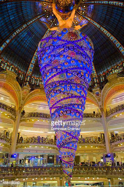 View of the Galeries Lafayette Christmas Decorations Inauguration In Paris at Galeries Lafayette on November 5 2014 in Paris France