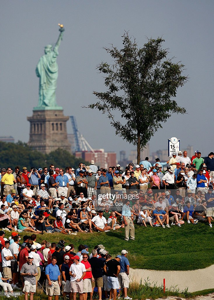 A view of the gallery around the 13th green is seen during the final round of The Barclays on August 30 2009 at Liberty National in Jersey City New...