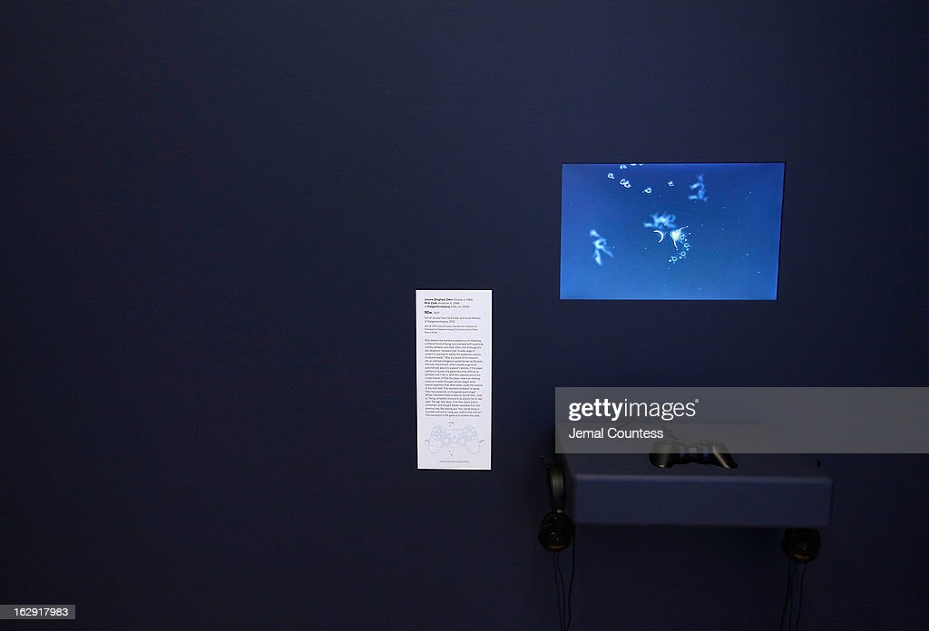 A view of the game 'Flow' which is one of the 14 video games that are part of the exhibiton 'Applied Designs' during the 'Applied Design' press preview at The Museum of Modern Art on March 1, 2013 in New York City.