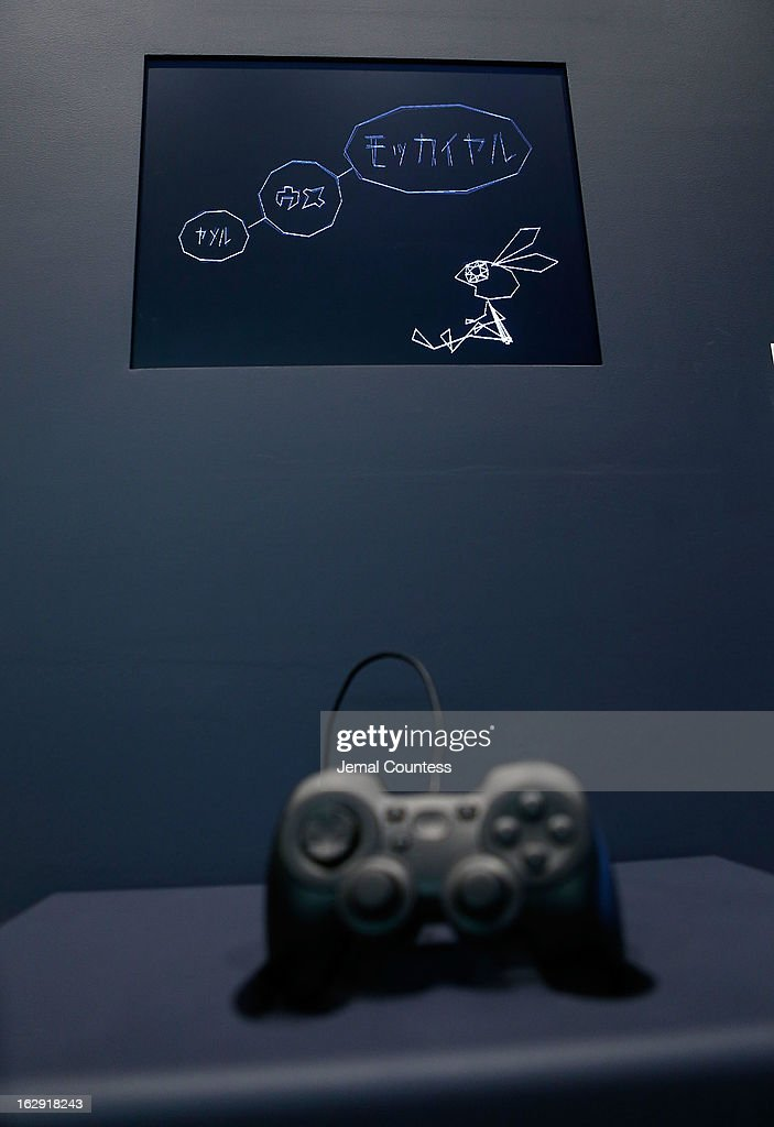 A view of the game 'Vib-ribbon' which is one of the 14 video games that are part of the exhibiton 'Applied Designs' during the 'Applied Design' press preview at The Museum of Modern Art on March 1, 2013 in New York City.