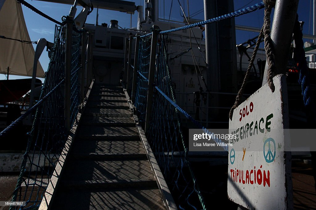 A view of the gangway leading to the Greenpeace Rainbow Warrior whilst docked at the Overseas Passenger Terminal in Circular Quay on March 24, 2013 in Sydney, Australia. The vessel is in Australia to protest new coal mines set to open near the Great Barrier Reef, and is opening for public viewing at ports across the country. The original Rainbow Warrior was bombed and sunk in Auckland Harbour in 1985 by two French intelligent agents, killing a Dutch photographer on board.