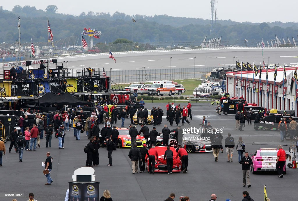 A view of the garage area after qualifying for the NASCAR Sprint Cup Series 45th Annual Camping World RV Sales 500 was cancelled due to rain at Talladega Superspeedway on October 19, 2013 in Talladega, Alabama.