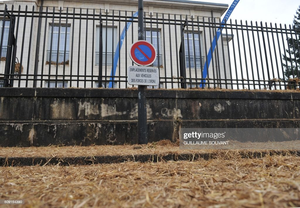 View of the gates of the Prefecture of the Indre French departement, after French farmers using a threshing machine projected straw onto, during a demonstration of French farmers on February 09, 2016, in Chateauroux, central France, protesting against the falling prices of agricultural products. / AFP / GUILLAUME SOUVANT