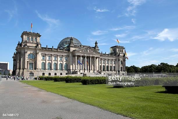 View of the German Bundestag (Deutscher Bundestag), the German Parliament, in the former Reichstag Building in Berlin, Germany