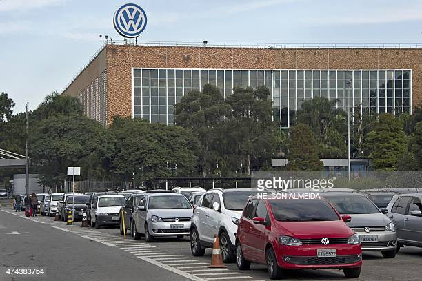 View of the German carmaker Volkswagen plant in Sao Bernardo do Campo 25 km south of Sao Paulo Brazil on May 15 2015 Sales and production of vehicles...