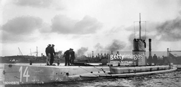 View of the German Uboat SM U14 a German type U13 submarine that saw service during World War I somewhere in Europe 1914