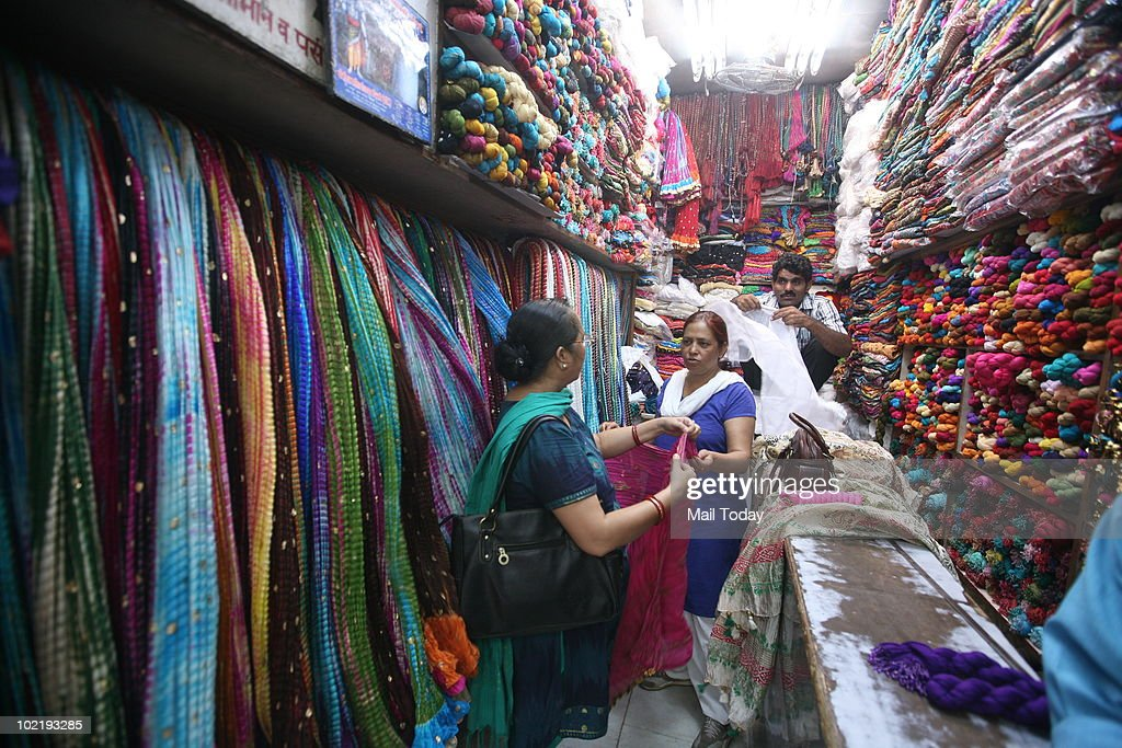 A view of the Ghoonghat dupatta store at Lajpat nagar's Central Market in New Delhi on June 15, 2010.