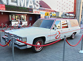 3/4 view of the 'Ghostbusters' Cadillac Fleetwood Station Wagon at AMC Universal City Walk on July 14 2016 in Universal City California
