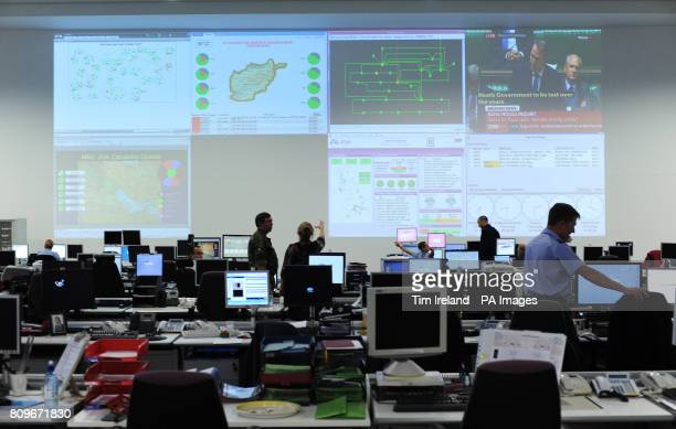 A view of the Global Operations Security Control Centre which is responsible for protecting the militarys networks worldwide from cyber attacks PRESS...