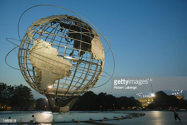 A view of the globe statue taken at dusk during the US Open on September 3 2002 at the USTA National Tennis Center in Flushing Meadows Corona Park in...
