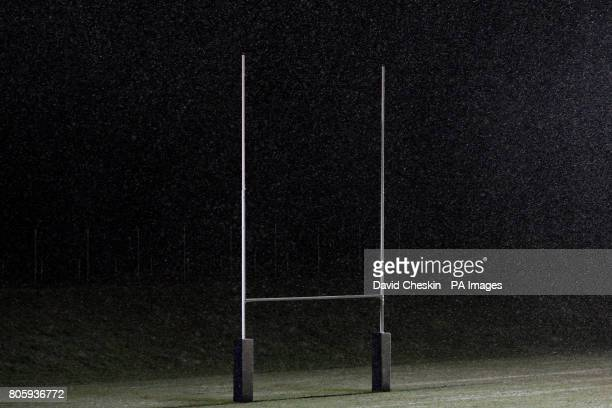 A view of the goal posts in the snow
