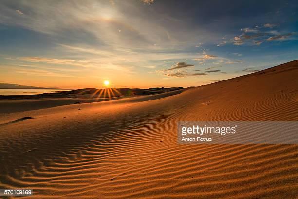 View of the Gobi desert at sunset.