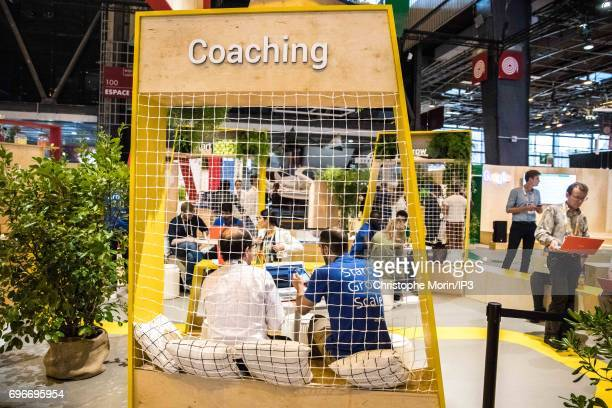 A view of the Google stand during Viva Technology at Parc des Expositions Porte de Versailles on June 16 2017 in Paris France Viva Technology is a...