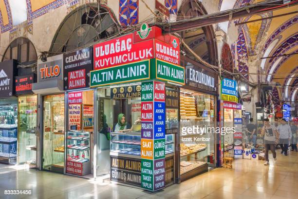 View of the Grand Bazaar, here a shop dealing with gold, Istanbul Turkey