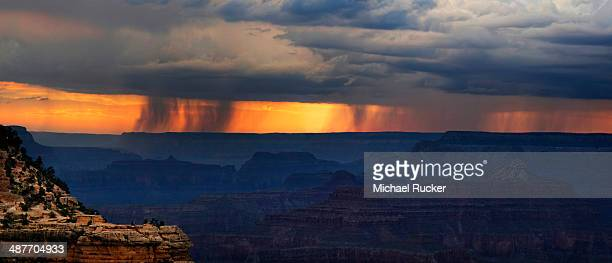 View of the Grand Canyon at sunset with storm clouds, viewing point Mather Point, South Rim, Grand Canyon, at Tusayan, Arizona, USA