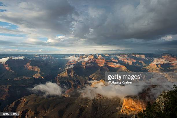View of the Grand Canyon from the Yavapai Point area on the South Rim with clearing clouds after a thunderstorm in the Grand Canyon National Park in...