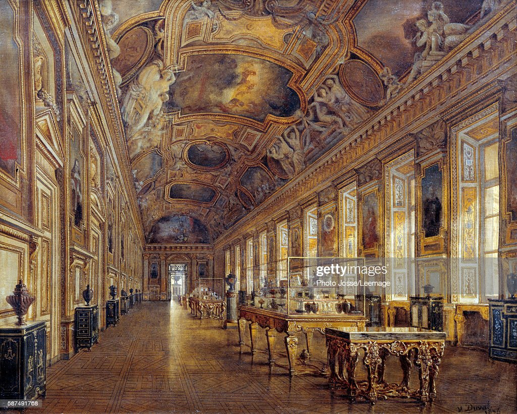 View of the Grand Galerie of Apollon in the Louvre Museum 1880 Painting by Victor Duval 1880 065 x 081 m Louvre Museum Paris