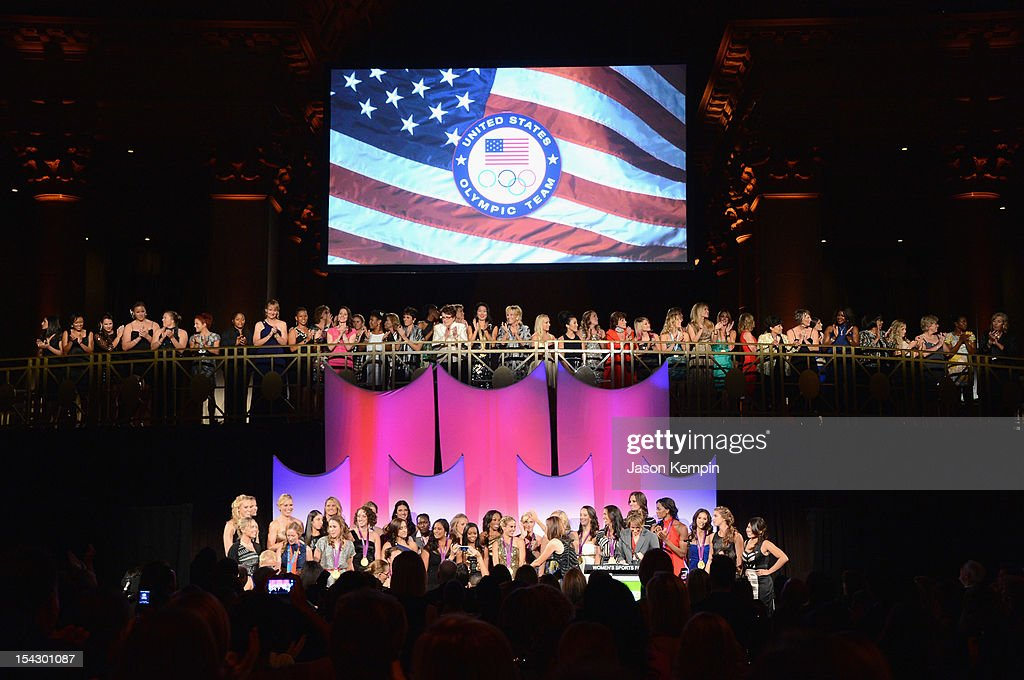 A view of the grand march of athletes at the 33rd Annual Salute To Women In Sports Gala post reception at Cipriani Wall Street on October 17, 2012 in New York City.