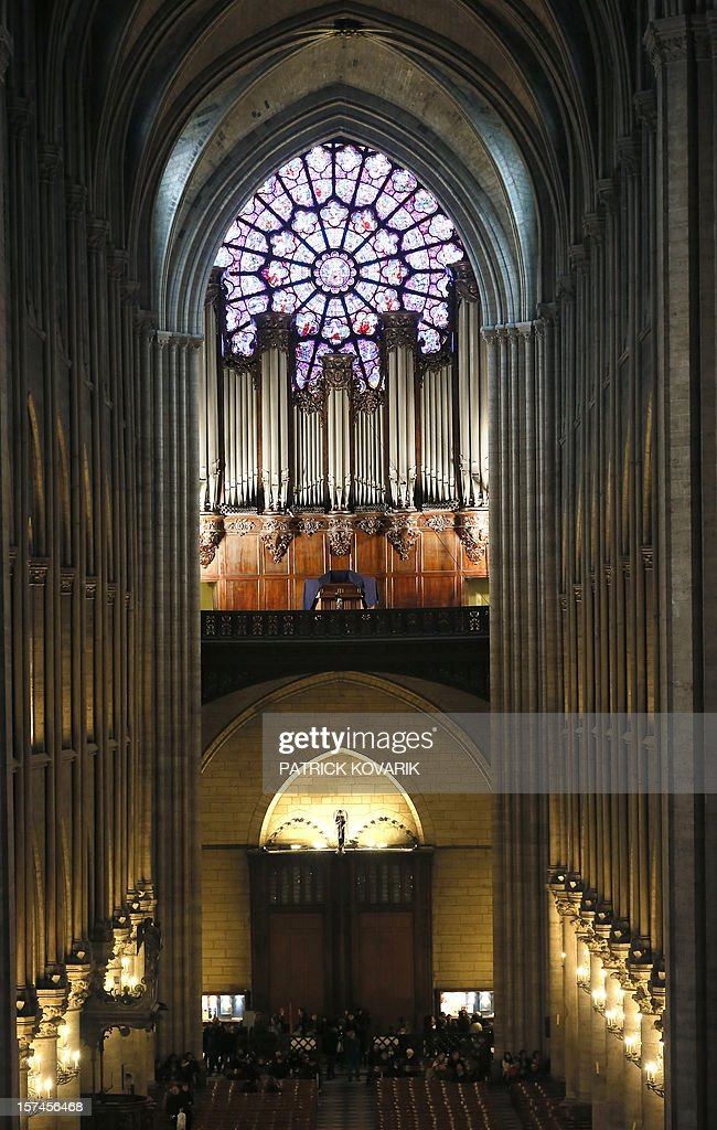 A view of the grand organ inside the Notre-Dame de Paris cathedral on November 30, 2012, in Paris.