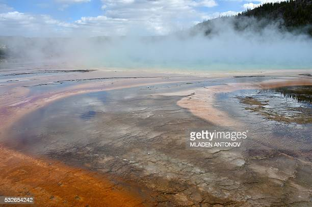 A view of the Grand Prismatic Spring at the Midway Geyser Basin at Yellowstone National Park on May 11 2016 Yellowstone the first National Park in...