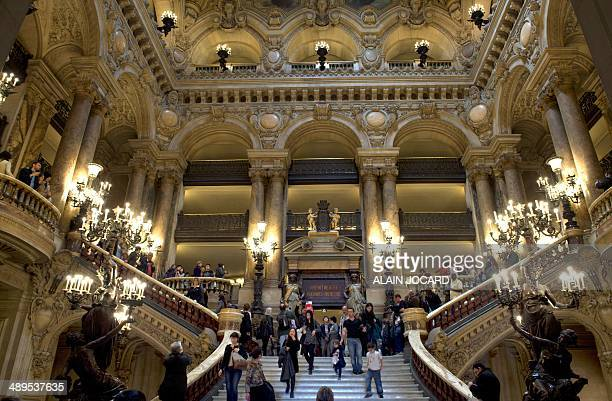 A view of the 'Grand staircase' taken on May 11 2014 inside the Opera Garnier in Paris AFP PHOTO / ALAIN JOCARD