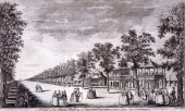 View of the Grand Walk in Vauxhall Gardens Lambeth London c1752 with figures in the foreground