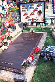 View of the grave marker for Vernon Elvis Presley's on the grounds of Presley's home Graceland Memphis Tennessee September 17 1994