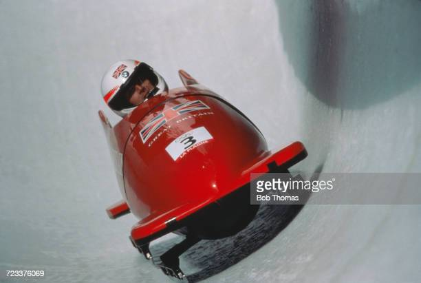 View of the Great Britain 1 twoman bobsleigh team of Mark Tout and Lenny Paul in action to finish in 7th place during competition in the 2man...
