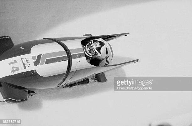 View of the Great Britain 1 twoman bobsleigh team of Tom De La Hunty and Alec Leonce in action during competition to finish in 12th place in the 2man...