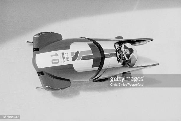 View of the Great Britain 2 twoman bobsleigh team of Mark Tout and David Armstrong in action during competition to finish in 18th place in the 2man...