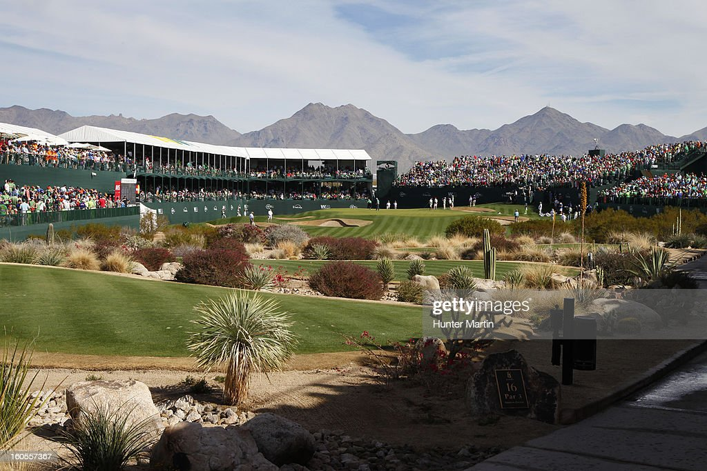 A view of the green on the 16th hole during the third round of the Waste Management Phoenix Open at TPC Scottsdale on February 2, 2013 in Scottsdale, Arizona.