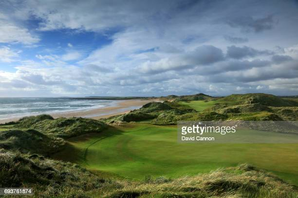 A view of the green on the 355 yards par 4 fifth hole with the 365 yards par 4 sixth hole behind at the Trump International Golf Links Doonbeg on...