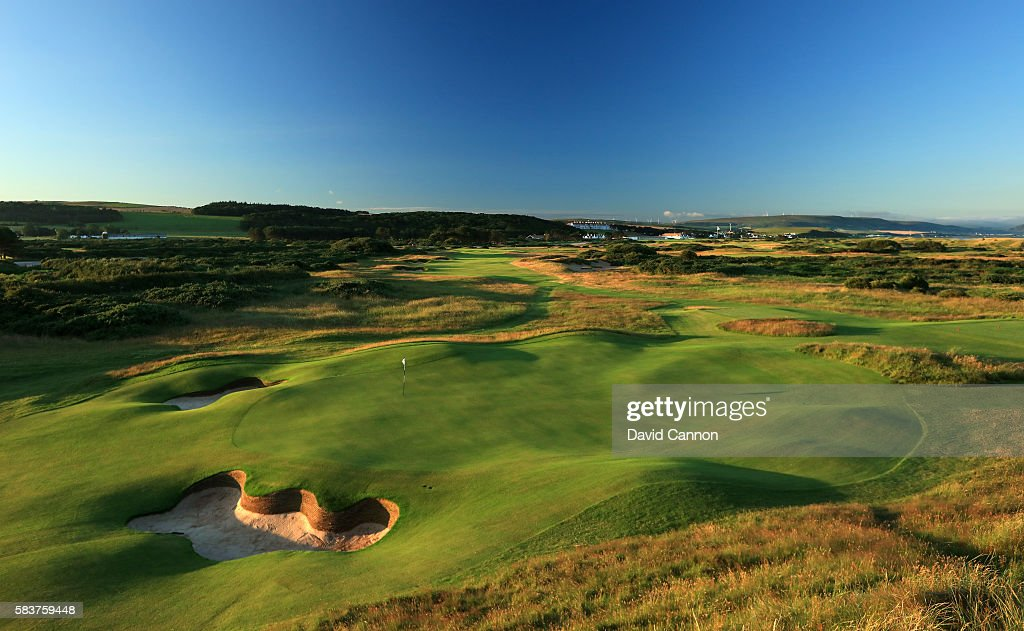 A view of the green on the 468 par 4 12th hole with the par 4 13th hole behind on the Ailsa Course at the Trump Turnberry Resort on July 19 2016 in...