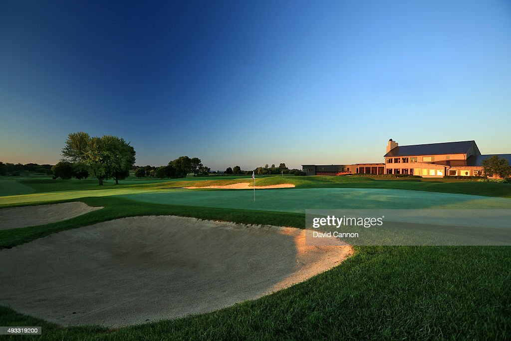 A view of the green on the 475 yards par 4 9th hole with the 18th green behind at Hazeltine National Golf Club the host venue for the 2016 Ryder Cup...