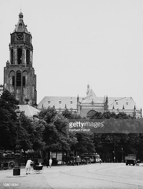 A view of the Groote Kerk of St Eusebius seen from the marketplace in Arnhem Netherlands circa 1930 The tower was mostly destroyed during World War II