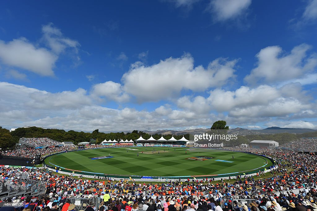 A view of the ground during the 2015 ICC Cricket World Cup match between England and Scotland at Hagley Oval on February 23 2015 in Christchurch New...