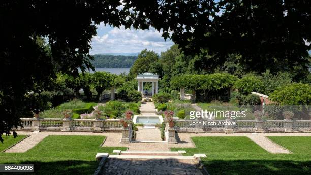 View of the grounds of the Blithewood Gardens at Bard College Annandale New York 2017 Visible in the background are the Catskill Mountains beyond the...