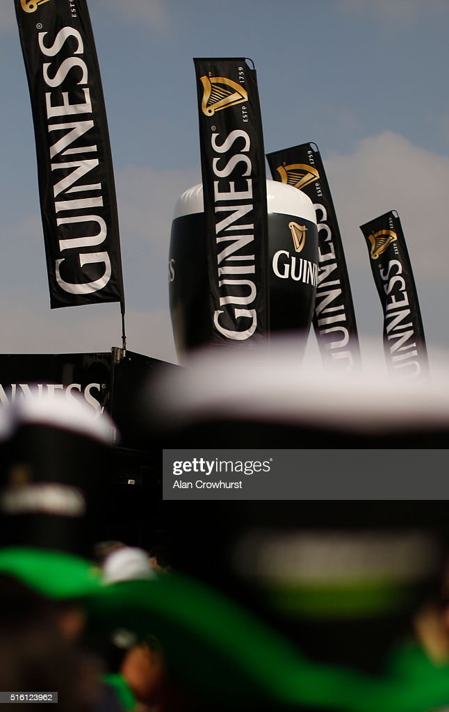 A view of the Guinness village during Cheltenham Festival St Patrick's Thursday at Cheltenham racecourse on March 17 2016 in Cheltenham England