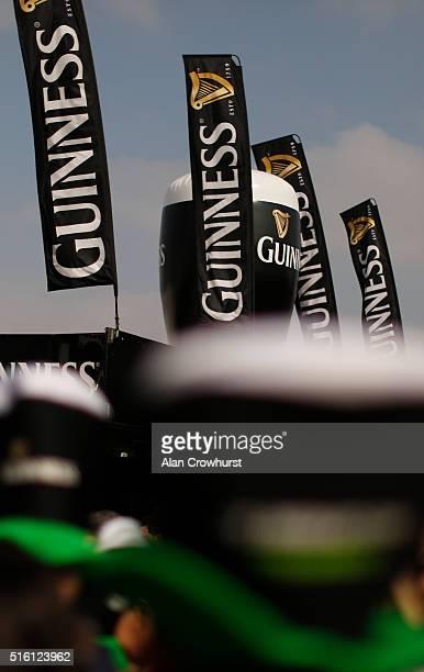 A view of the Guinness village during Cheltenham Festival St Patrick's Thursday at Cheltenham racecourse on March 17 2016 in Cheltenham England